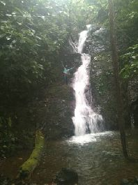 For sale, unique 21.5 ha Waterfall-Jungle-Property with road access, at Sabalo-Drake Bay